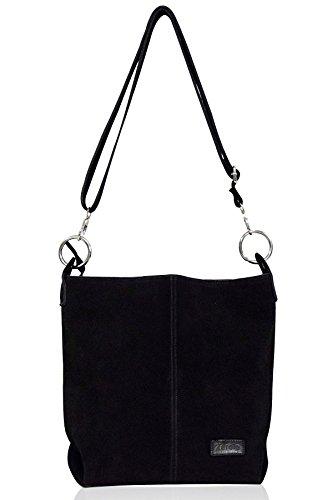 zarolo Damen Handtasche, Beuteltasche Shopper, Leder Schultertasche, Hobo Bag, echtes Leder/Wildleder -