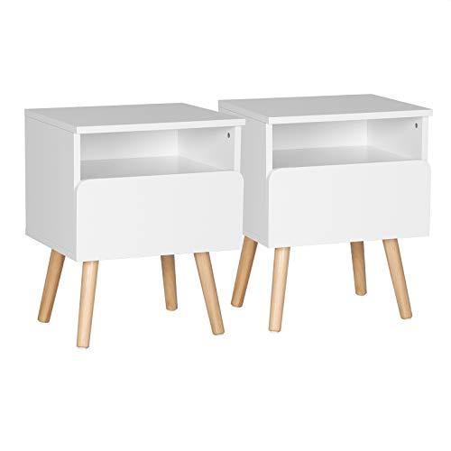 WOLTU® Nachttisch 2er Set Nachtkommode Nachtschrank Beistelltisch Sofatisch, mit Schublade und Offenem Fach, mit Beinen, Holz, Weiß, 40x33,5x50cm(BxTxH), TSR58ws-2