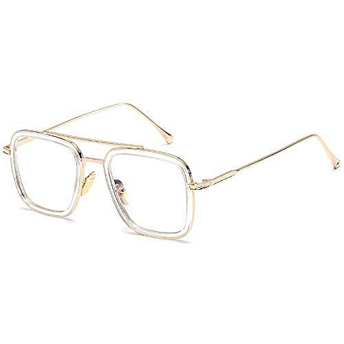 LLLYZZ Retro Sonnenbrille Brille Square Eyewear Metallrahmen für Männer Frauen Iron Man Sonnenbrille @ Transparent_Frame_and_Clear_Lens