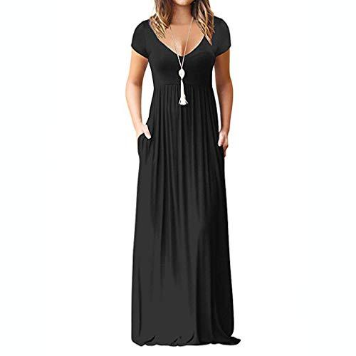 AIni Damen Casual Vintage ÄRmelloses V-Ausschnitt Solide Maxi Tank Langes Elegant Kleid Abendkleider Ballkleid Festkleid Festlich Hochzeit Partykleid
