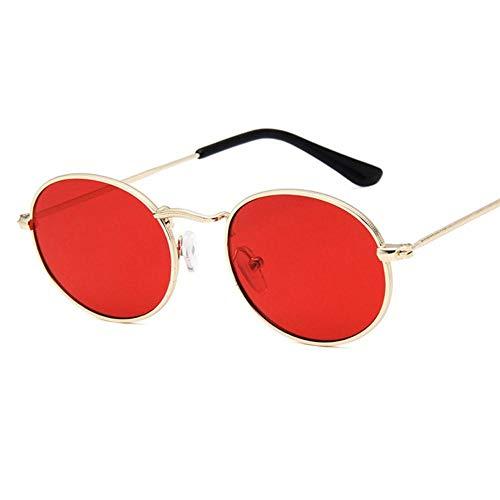 HUILIN kleine Box Sonnenbrille weiblichen Retro ovalen Spiegel Metall Sonnenbrille, GoldRed