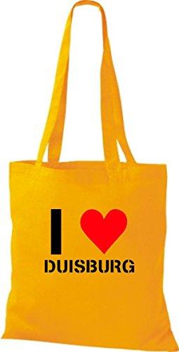 T-shirt Di Stoffa In Stile T-shirt Amo Duisburg La Tua Città Di Colore Diverso Giallo