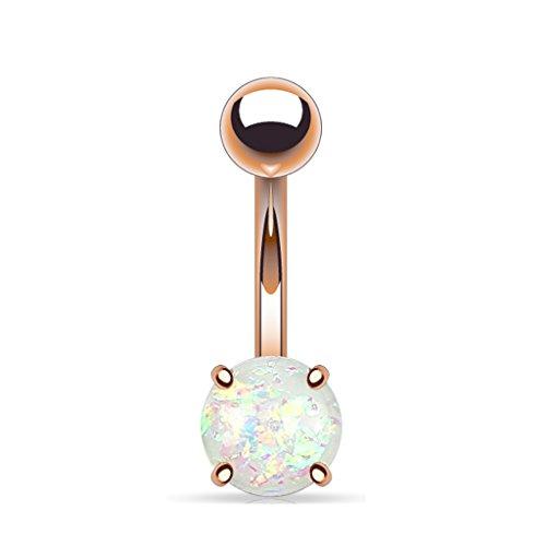 Tapsi´s Coolbodyart®  Bauchnabelpiercing Edelstahl Chirurgenstahl 316L Rose Gold IP Glitter Opal Regenbogen Weiß