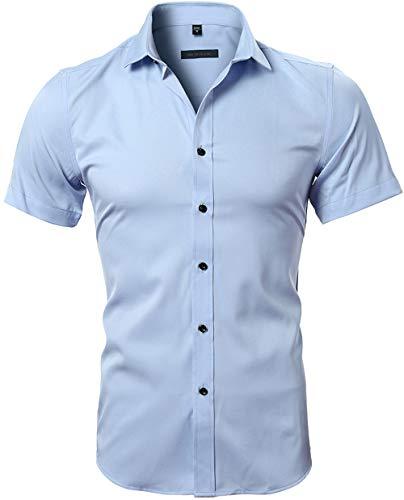 HARRMS Herren Hemd Kurzarm Slim Fit Bambusfaser für Anzug/Business/Hochzeit/Freizeit,Hemden Shirts für Männer,Himmel Blau,L-42 EU
