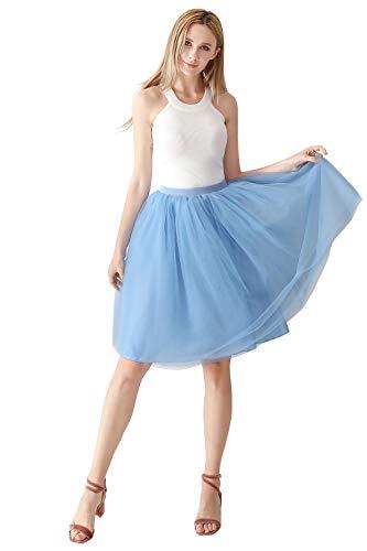 MisShow 7 Schichten Petticoat Unterrock Elastic Bund Tutu Prinzessin Tüllrock Für Karneval, Party und Hochzeit Blau