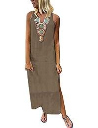 ba858891c92594 friendGG Maxi Abito da Donna off-Shoulder Estivo da Donna Vestito Lungo  Estivo Color Verde
