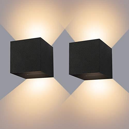 LED Wandleuchte Innen 12W Wandlampe mit Einstellbar Abstrahlwinkel Wandlicht Warmweiß 3000K Aluminium Wandbeleuchtung IP65 Wasserdichte(2 Stücke)
