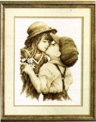 Vervaco - Kit per punto croce, motivo: il primo bacio, tela Aida colore Ecru