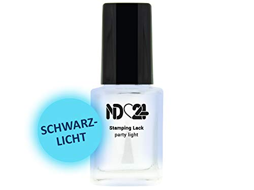 12ml - STAMPING LACK party light - NACHTLEUCHTEND - Nail Art Nagellack für Stamping Schablone - hochpigmentiert - Nail Polish for Plates - MADE IN GERMANY
