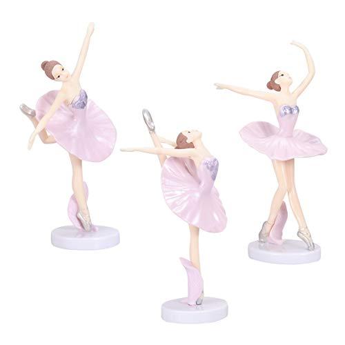 Garneck 3 Piezas Bailarina Bailarina de Ballet Estatua estatuillas Adornos Adornos de Pastel Fiesta de cumpleaños de Navidad favorece Regalos para Bailarina (Rosa)