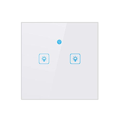 WiFi Smart Wall Touch Light Switch Glass Panel Wireless Remote Control von Mobile APP Kompatible mit Alexa, Timing Funktion No Hub Required (Wall Switch 2 Kanäle) -