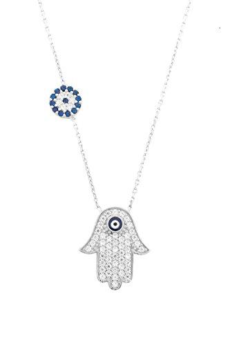 Remi Bijou 925 Sterling Silber - Halskette Fatimas Hand Türkisches Auge Nazar Boncuk, ColorName:Silber