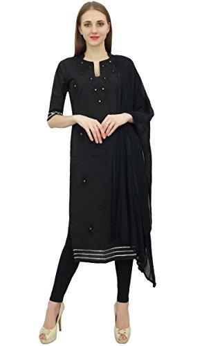 Atasi Readymade Salwar Hose Schwarz Bestickte Baumwolle Salwar Kameez Anzug Indian Dress-52 -