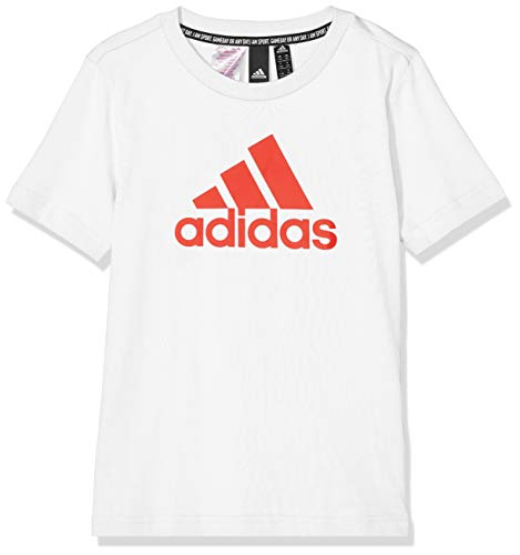 adidas must haves badge of sport, t-shirt bambino, white/active red, 140