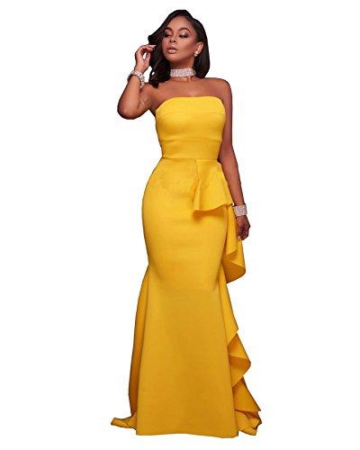 Womens Sexy Off Shoulder Ruffle Hem Evening Cocktail Party Mermaid Maxi Dress YellowM