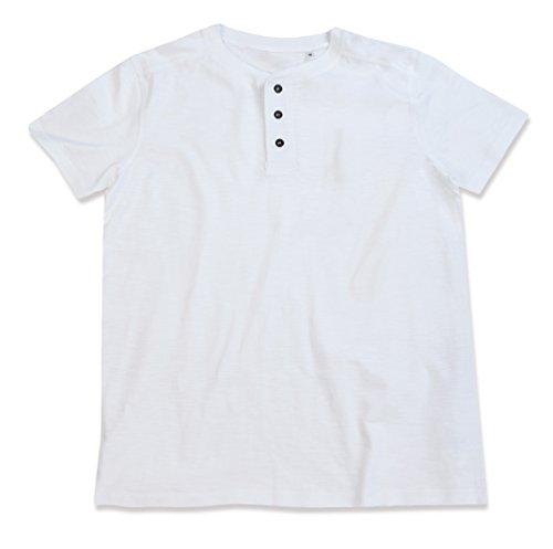 Stedman Original Premium Henley-T-Shirt mit Knöpfen für Herren; Aus Weichem Flamm-Garn (Slub-Garn) White