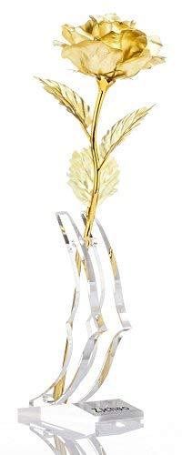 Regalos para ella, Rosa de Oro 24K recortado regalo de flor artificial con soporte, para el Día de San Valentín Día de la Madre Navidad Cumpleaños