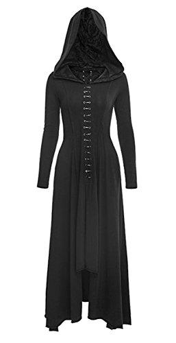 Dark Dreams Gothic Emo Kleid Kapuze Victorian Maxi Hoodie Wicca Pagan Hexe Kleid Mantel Punk Rave 36 38 40 42 44 Black Raven, ()