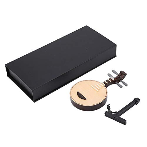 Hilitand Miniatur-Yueqin-Musikinstrument-Modell-Musikinstrument-Dekor-Minimusikverzierungen mit vorbildlichem Stand(14cm)