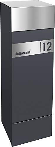 Frabox® Design Paketkasten NAMUR anthrazitgrau RAL 7016 / Edelstahl mit Hausnummer & Namen