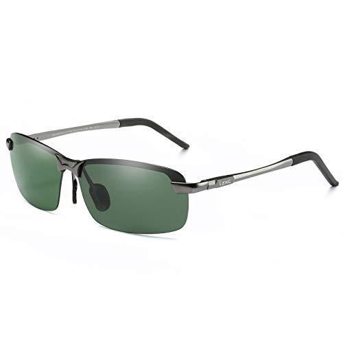 LZXC Herren Polarisierte Fahren Sonnenbrillen Sport im Freien Eyewear Unzerbrechlich Spring Scharnier Ultra-light AL-MG Schwarzer Rahmen Rlau Objektiv für Männer