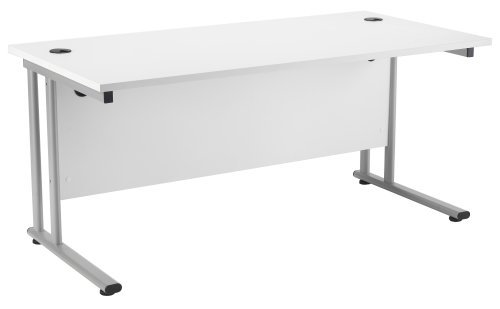 Great Buy for White Rectangular Office Desk 1400mm x 800mm – Smart Office Furniture Range, Office Desk in White, Home Office Desk