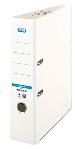 ELBA 100023263 Ordner smart Original Papier 10er Pack 8 cm breit DIN A4 weiß Ringordner Aktenordner Briefordner Büroordner Pappordner Schlitzordner