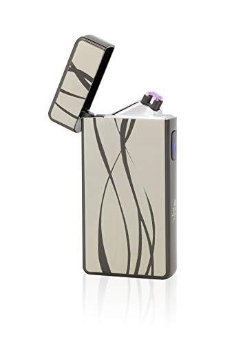 TESLA Lighter T13 | Lichtbogen Feuerzeug, Plasma Double-Arc, elektronisch wiederaufladbar, aufladbar mit Strom per USB, ohne Gas und Benzin, mit Ladekabel, in Edler Geschenkverpackung, Schwarz Linien