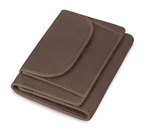 KRONIFY Geldbörse Herren klein mit RFID Schutz und Münzfach aus Büffelleder Geschenk Geldbeutel Männer Leder Braun Portmonaise Herrengeldbeutel -