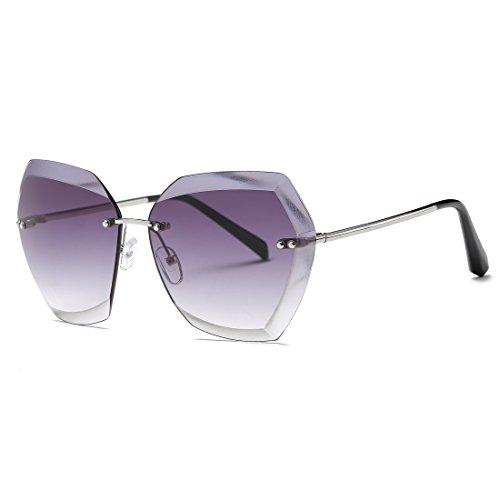 kimorn Sonnenbrillen für Frauen Übergroße randlose Diamant-Schneidlinse Klassisch Eyewear AE0534 (Silber&Grau, 65)