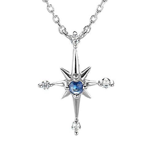 QueenAILSA 925 Sterling Silber Platiniert Natürlichen Saphir Seestern Damen Halskette Mädchen Freundinnen (Farbe änderung Saphir)
