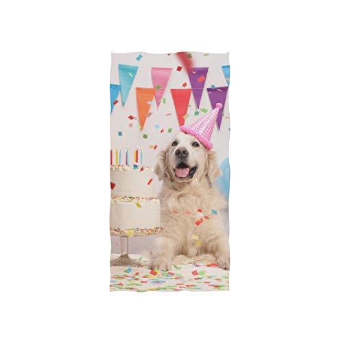 Enhusk Happy Puppy Dog Kuchen Porträt weichen Spa Strand Badetuch Fingertip Handtuch Waschlappen für Baby Erwachsene Bad Strand Dusche Wrap Hotel Travel Gym Sport 30 x 15 Zoll (Luftballons Billig Benutzerdefinierte)