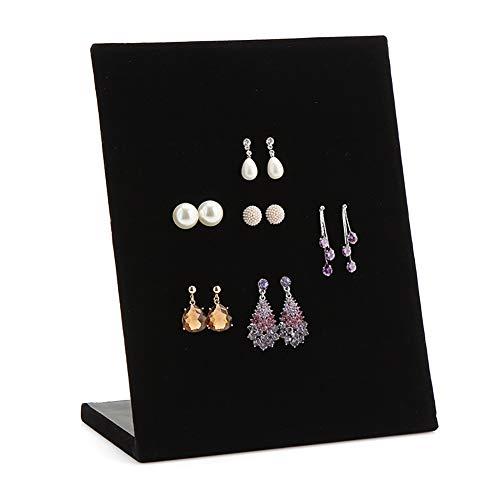 Velvet L-Form-Ohrring Display Rack Organizer Schmuck Ständer Halter Fach für 30 Paar Ohrringe Halter (schwarz) - Schmuck Ohrring Halter