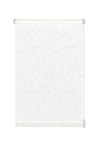 GARDINIA Rollo mit dezentem Muster zum Klemmen oder Kleben, Tageslicht-Rollo, Blickdicht, Alle Montage-Teile inklusive, EASYFIX Rollo Dekor, Weiß, 100 x 150 cm (BxH)