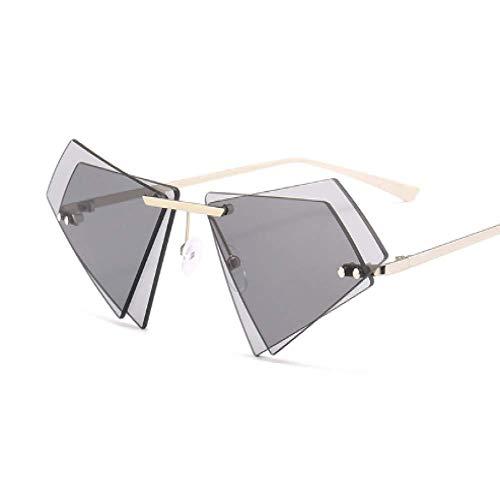 Trend Dreieckspiegel Gläser Double Stack Farbe rahmenlose Sonnenbrille unregelmäßige Mode Sonnenbrille, grau -