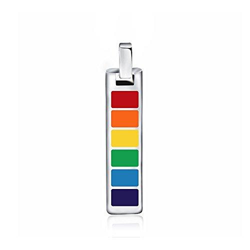 n Herren Unisex Edelstahl Halskette Kette Anhänger Mehrfarbig Bunt Streifen Regenbogen Rainbow LGBT Lesbe Gay Pride Schwul Homosexuell - Geschenkbox (Gay Pride Outfits)