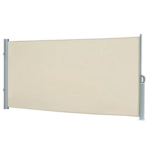 Seitenmarkise, Sichtschutz, Wählen Sie Ihre Größe und Farbe (creme, (H) 180 x (L) 300 cm)