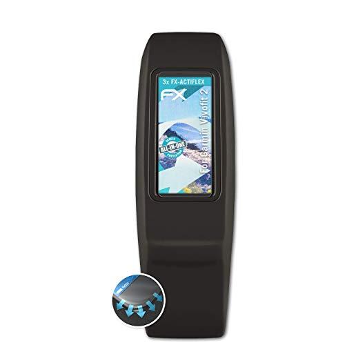 atFoliX Schutzfolie passend für Garmin Vivofit 2 Folie, ultraklare & Flexible FX Bildschirmschutzfolie (3X)