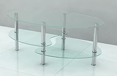 Contemporary Oval Coffee Table in Clear Glass - inexpensive UK light shop.
