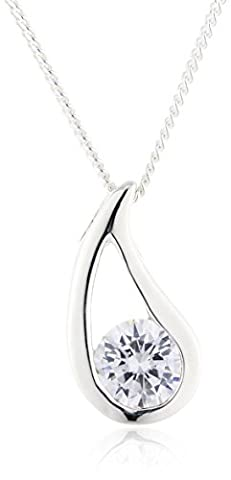 Elements Silver P2621C Ladies' Clear Cubic Zirconia Checkerboard Sterling Silver Pendant with Curb Chain of 46 cm