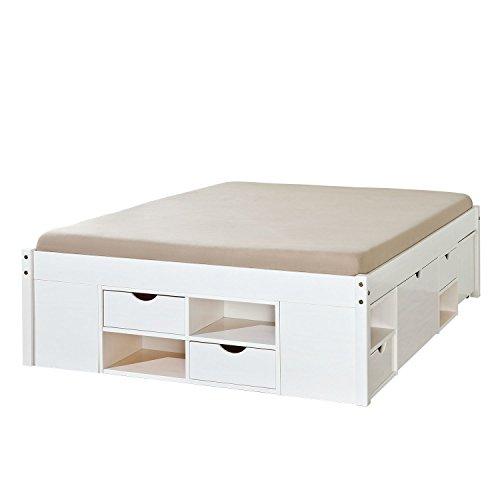 guenstiges doppelbett Inter Link Alpine Living Bett Funktionsbett Doppelbett Stauraumbett Bett mit Schubladen Echt Holz Bio Weiss lackiert