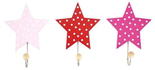 Garderobe Einzelhaken Sterne rosa 3er Set