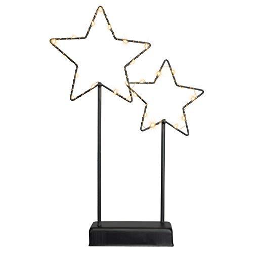 Nipach Deko-Leuchte Sterne - Lampe zur Dekoration auf Tisch Kommode - schwarzes Metallgestell...