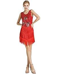 Kaiyei Vestido de Baile Latino para Mujer niñas señora Sexy Flecos Salsa  salón f7a9c03b7c9