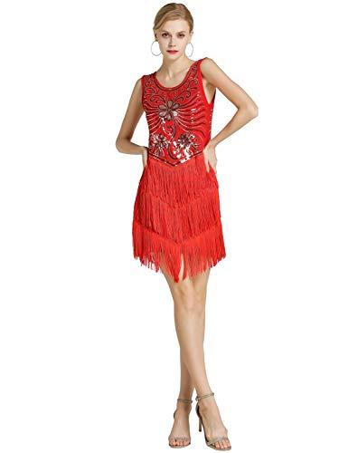 Kaiyei Vestido de Baile Latino para Mujer/niñas/señora Sexy Flecos Salsa/salón de Baile/Tango/Cha/Rumba/Samba/Vestidos Latinos para Bailar Rojo XL