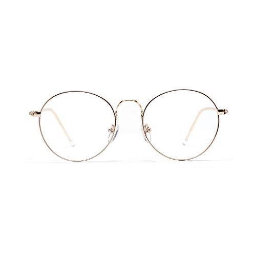 Vintage inspirierte Horn umrandeten Nerd klare Linse Gläser Metall Runde Brillengestell Brille (Farbe : Golden)