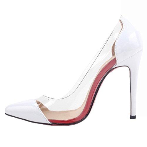 HooH Femmes Transparent Rouge Semelle Pointed Toe Escarpins Pumps Blanc