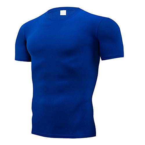 YURACEER Short-Sleeve Herren Sommer Mode Reine Farbe T-Shirt Männer Kurzarm Compression Enge T-Shirts Hemd Sommer Kleidung x1 Lake Blue 4XL -