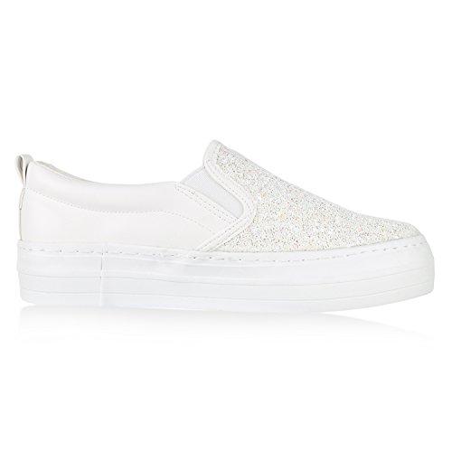 Japado Komfortable Damen Sneakers Bequeme Slipper Funkelnde Glitzerapplikationen Modische Plateausohle Gr. 36-41 Weiss White