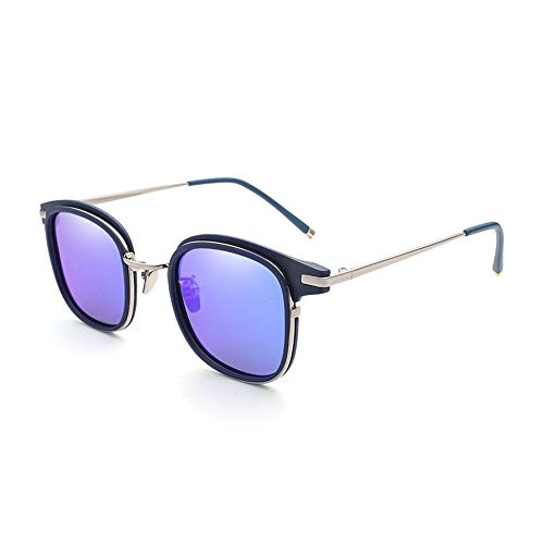 Ruanyi Vintage Retro Quadrat Sonnenbrillen Damen Polarisierte Vielseitige Mode Sonnenbrillen Trend Mode Bunte Sonnenbrillen Für Frauen der Frauen UV400 (Color : Blue)